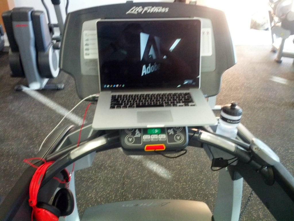 Picture of laptop on treadmill